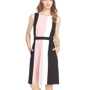 Kate Spade Dress Colorblock Pleated Dress Pink